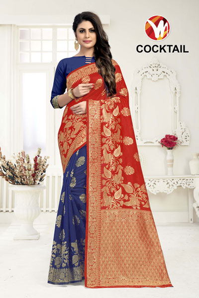 Cocktail Blue Red Printed Saree