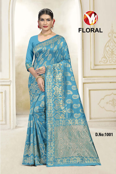 Floral Light Blue Saree