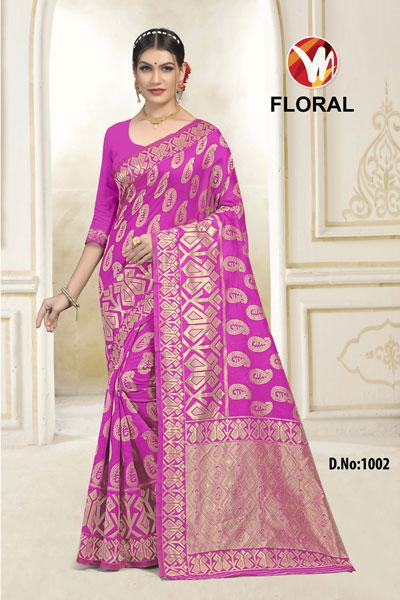 Floral Pink Saree