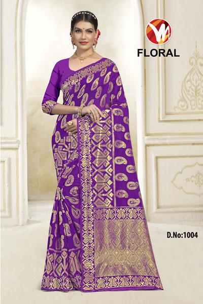 Floral Purple Saree