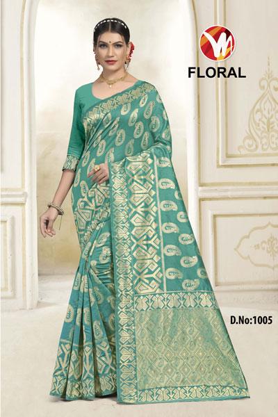 Floral Green Saree
