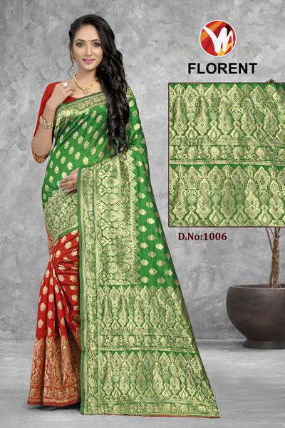 Florent Red & Green Saree