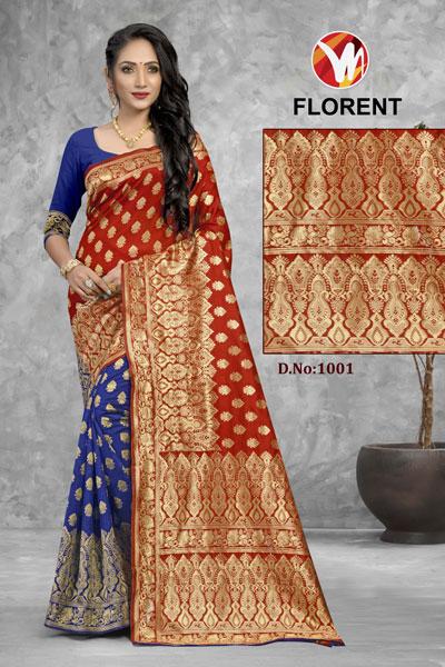 Florent Blue & Brown Saree