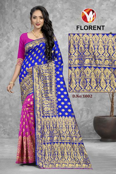 Florent Pink & Blue Saree