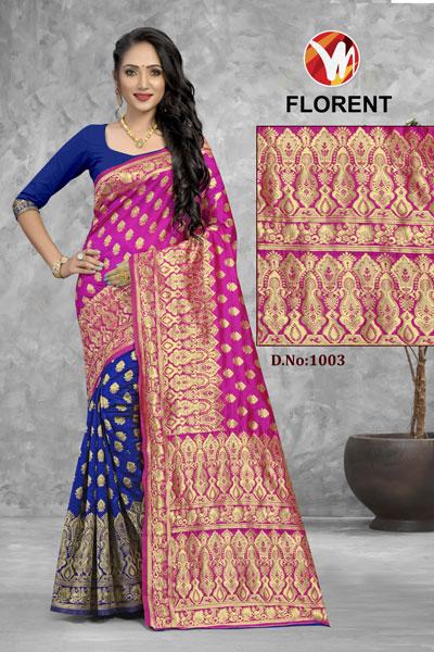Florent Blue & Pink Saree