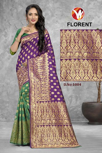 Florent Green & Purple Saree