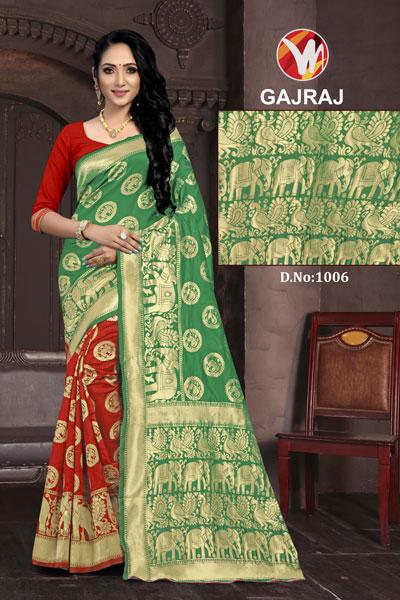 Gajraj Red & Green Saree