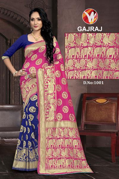 Gajraj Blue & Pink Saree