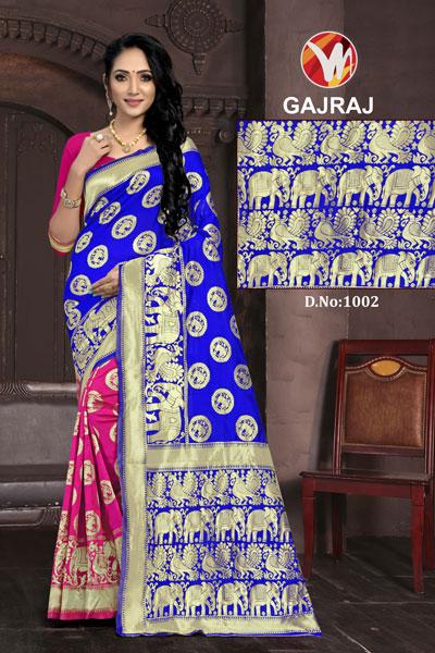 Gajraj Pink & Blue Saree