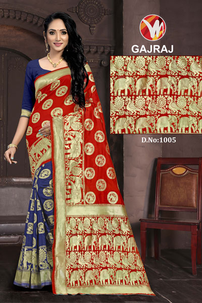 Gajraj Blue & Red Saree