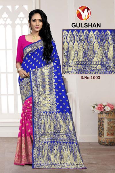 Gulshan Pink & Blue Saree