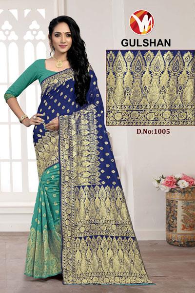 Gulshan Teal & Blue Saree