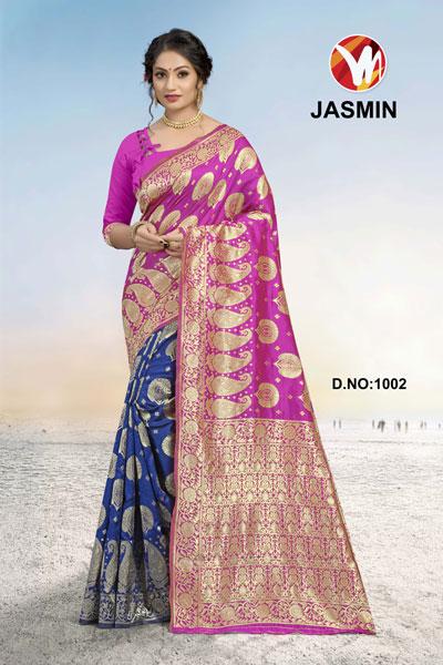 Joly Pink & Blue Saree