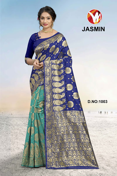 Jasmin Green & Blue Saree
