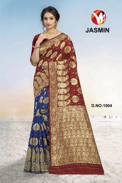Jasmin Blue & Brown Saree
