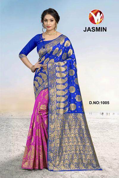 Jasmin Pink & Blue Saree
