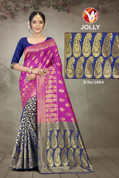 Joly Blue & Pink Saree