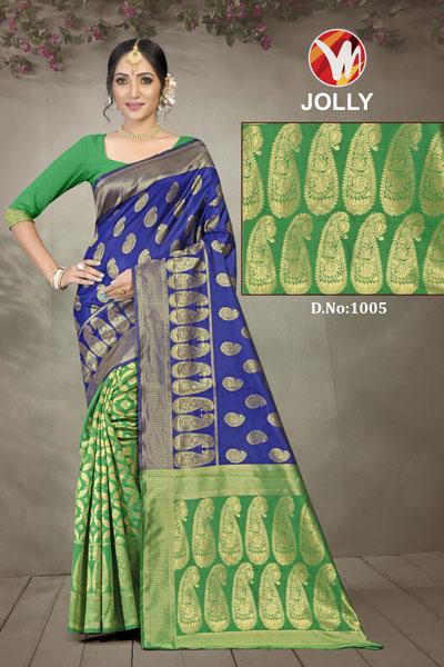 Joly Light Green & Blue Saree