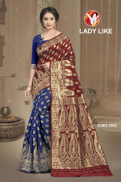 Lady Like Blue & Mehroon Saree