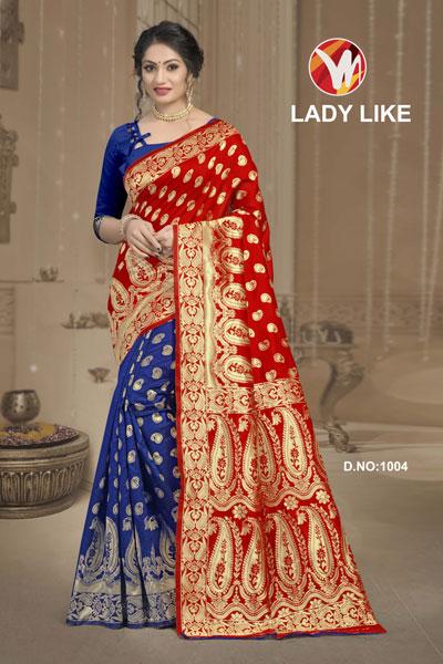 Lady Like Blue & Brown Saree