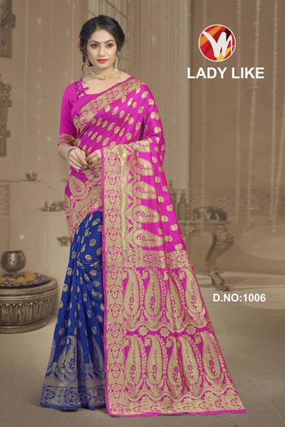 Lady Like Blue & Pink Saree