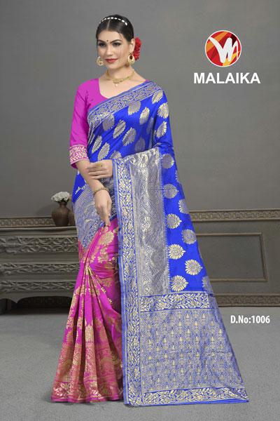 Malaika Pink & Blue Saree