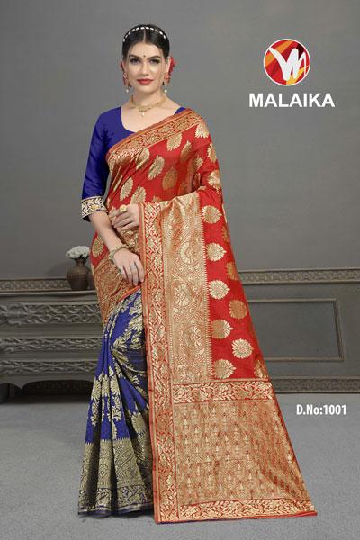 Malaika Blue & Mehroon Saree