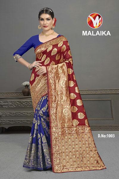 Malaika Blue & Brown Saree