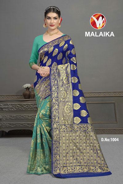 Malaika Teal & Blue Saree