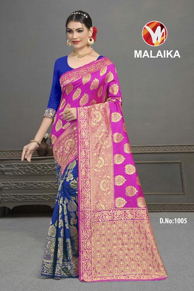 Malaika Blue & Pink Saree