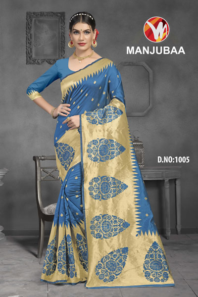 Manjubaa Light Blue Saree