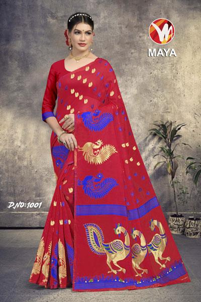 Maya Mehroon Saree