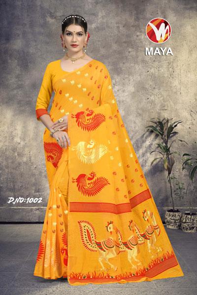 Maya Orange Yellow Saree