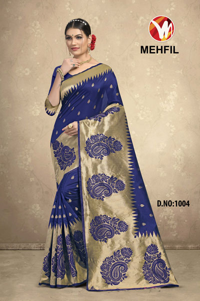 Mehfil Blue Saree
