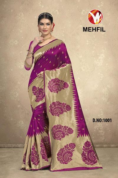 Mehfil Purple Saree