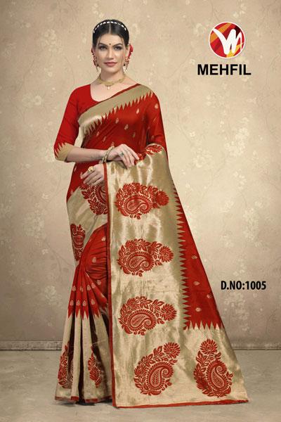 Mehfil Brown Saree