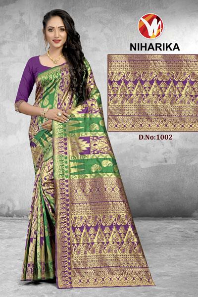 Niharika Green & Purple Saree