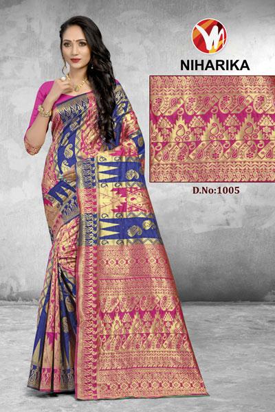 Niharika Pink & Blue Saree