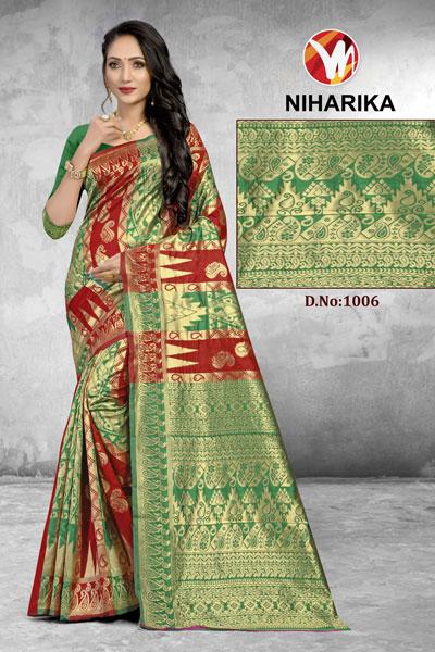 Niharika Brown & Green Saree