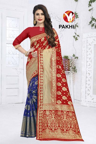 Pakhi Red & Bllue Saree