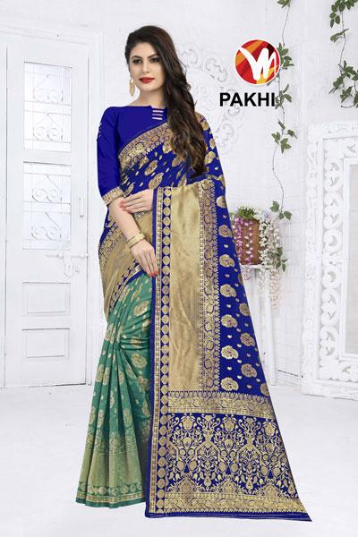 Pakhi Blue & Teal Saree