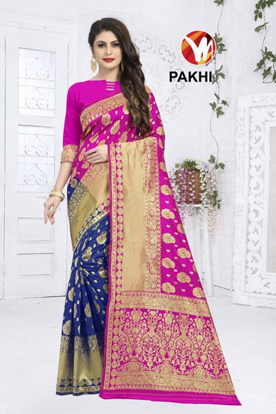 Pakhi Blue & Pink Saree