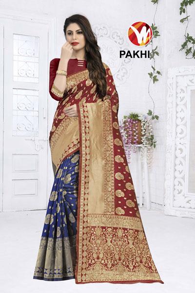 Pakhi Brown & Blue Saree