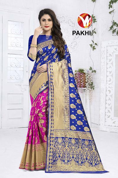 Pakhi Pink & Blue Saree