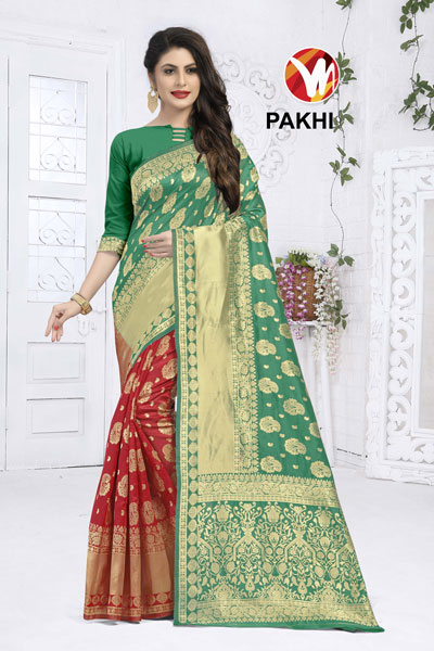 Pakhi Green & Mahroon Saree