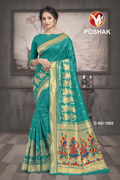 Poshak Turquoise Saree