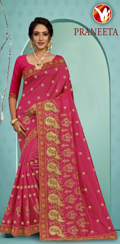 MIS For Women Onion Pink With Heavy Embroidery With Unstitched Matching Blouse