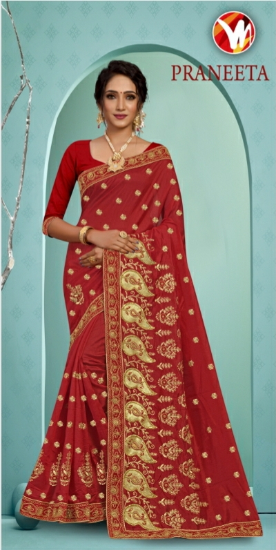 MIS RED Heavy Embroidery Saree   Unstitched Matching Blouse