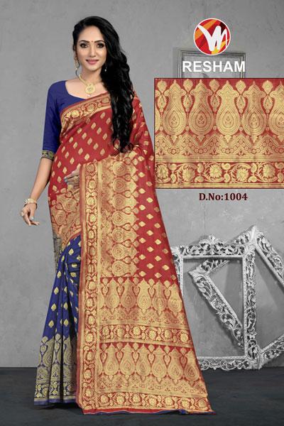 Resham Blue & Brown Saree