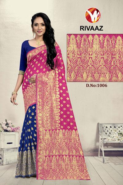 Rivaaz Blue & Pink Saree
